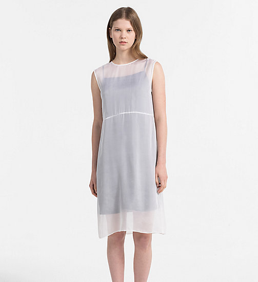 CALVIN KLEIN JEANS Silk Double Layer Dress - BRIGHT WHITE / CK BLACK - CALVIN KLEIN JEANS DRESSES - main image