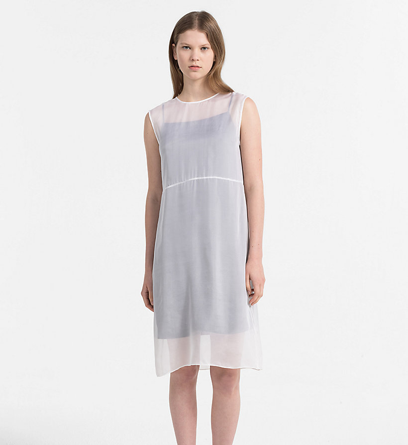 CALVIN KLEIN JEANS Silk Double Layer Dress - BRIGHT WHITE / SPECTRA YELLOW - CALVIN KLEIN JEANS WOMEN - main image