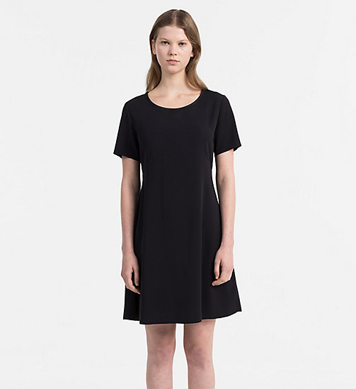 CALVIN KLEIN JEANS Satin Skater Dress - CK BLACK - CALVIN KLEIN JEANS DRESSES & SKIRTS - main image