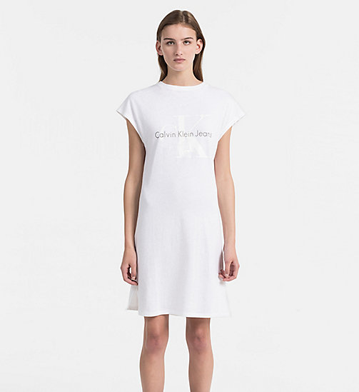 CALVIN KLEIN JEANS Logo T-shirt Dress - BRIGHT WHITE - CALVIN KLEIN JEANS HEAT WAVE - main image