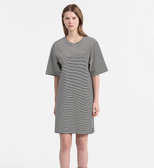CALVIN KLEIN JEANS Milano Jersey Stripe Dress - CK BLACK / EGRET - CALVIN KLEIN JEANS NEW IN - main image