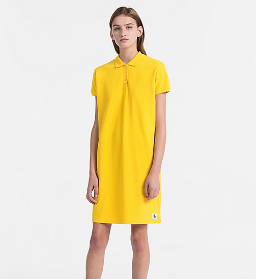 CALVIN KLEIN JEANS Cotton Piqué Polo Dress - SPECTRA YELLOW - CALVIN KLEIN JEANS DRESSES - main image
