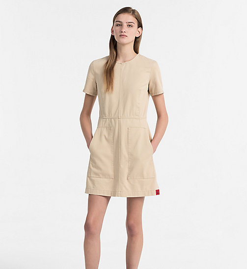 CALVIN KLEIN JEANS Cotton Twill Dress - SAFARI - CALVIN KLEIN JEANS TRUE COLOURS - main image
