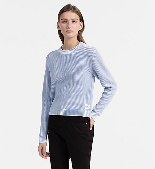CALVIN KLEIN JEANS Cotton Rib-Knit Jumper - CHAMBRAY BLUE - CALVIN KLEIN JEANS BLUES MASTER - main image