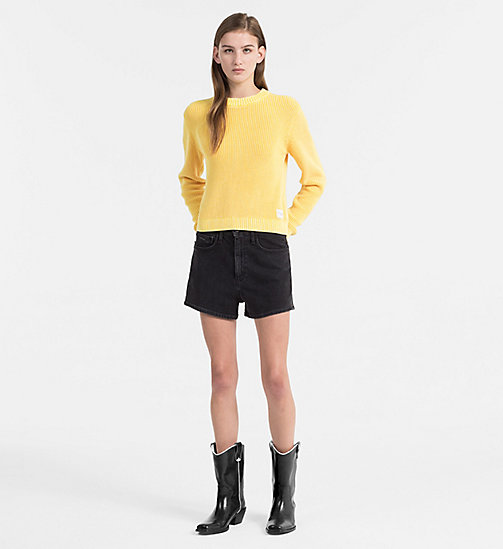CALVIN KLEIN JEANS Cotton Rib-Knit Jumper - SPECTRA YELLOW - CALVIN KLEIN JEANS CLOTHES - detail image 1