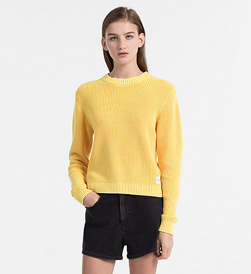 CALVIN KLEIN JEANS Cotton Rib-Knit Jumper - SPECTRA YELLOW - CALVIN KLEIN JEANS CLOTHES - main image