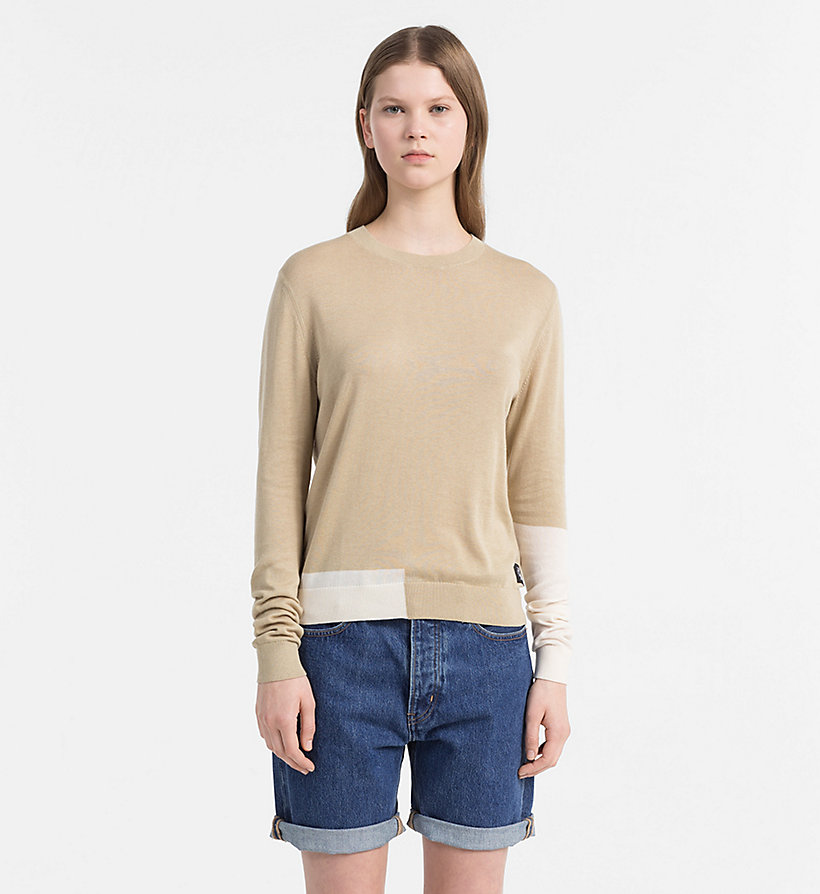 CALVIN KLEIN JEANS Colour Block Jumper - PEARLED IVORY - CALVIN KLEIN JEANS WOMEN - main image
