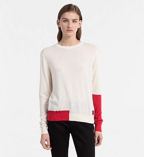 CALVIN KLEIN JEANS Colour Block Jumper - PEARLED IVORY -  CLOTHES - main image