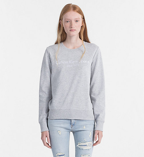 CALVIN KLEIN JEANS Embroidered Logo Sweatshirt - LIGHT GREY HEATHER - CALVIN KLEIN JEANS NEW IN - main image