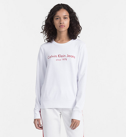 CALVIN KLEIN JEANS Embroidered Logo Sweatshirt - BRIGHT WHITE - CALVIN KLEIN JEANS NEW IN - main image