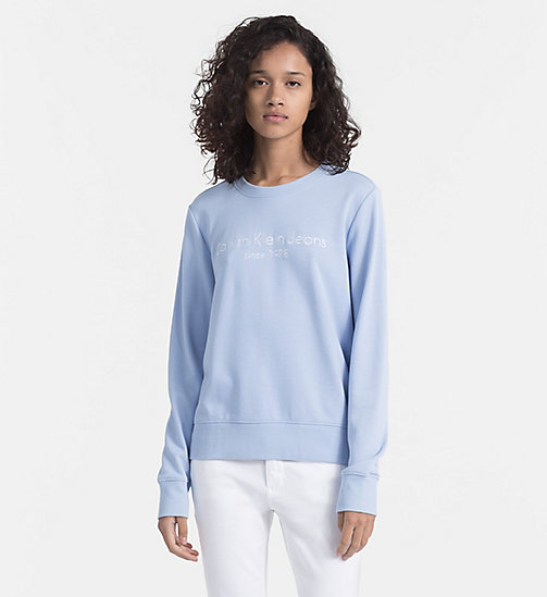 CALVIN KLEIN JEANS Embroidered Logo Sweatshirt - CHAMBRAY BLUE - CALVIN KLEIN JEANS NEW IN - main image