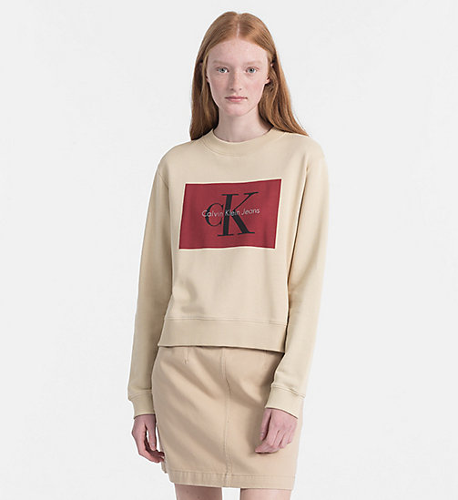 CALVIN KLEIN JEANS Block Logo Sweatshirt - SAFARI / TANGO RED -  CLOTHES - main image