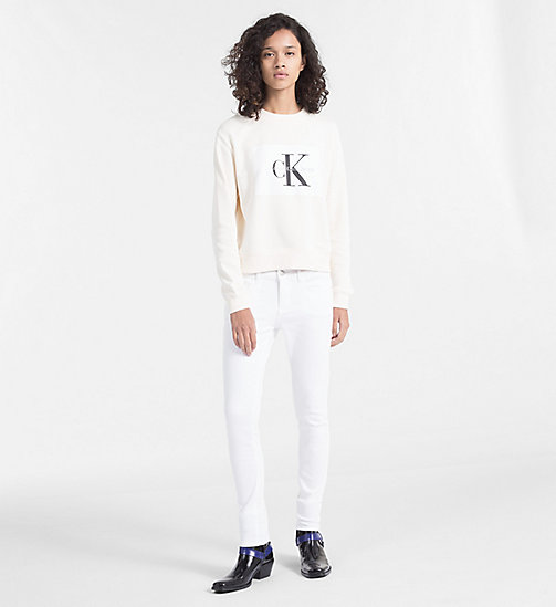 CALVIN KLEIN JEANS Block Logo Sweatshirt - PEARLED IVORY / BRIGHT WHITE - CALVIN KLEIN JEANS CLOTHES - detail image 1