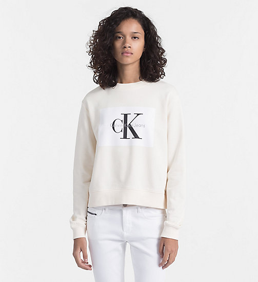 CALVIN KLEIN JEANS Block Logo Sweatshirt - PEARLED IVORY / BRIGHT WHITE - CALVIN KLEIN JEANS CLOTHES - main image