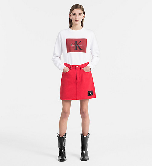CALVIN KLEIN JEANS Block Logo Sweatshirt - BRIGHT WHITE / TANGO RED - CALVIN KLEIN JEANS TRUE COLOURS - detail image 1
