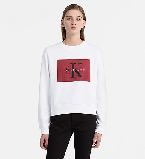 CALVIN KLEIN JEANS Block Logo Sweatshirt - BRIGHT WHITE / TANGO RED - CALVIN KLEIN JEANS TRUE COLOURS - main image