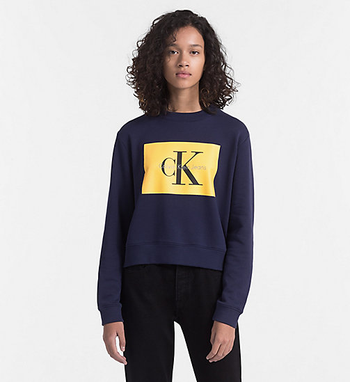 CALVIN KLEIN JEANS Block Logo Sweatshirt - PEACOAT / SPECTRA YELLOW -  BLUES MASTER - main image
