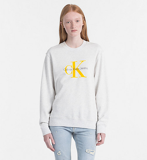 CALVIN KLEIN JEANS Logo Sweatshirt - WHITE HEATHER -  LOGO SHOP - main image