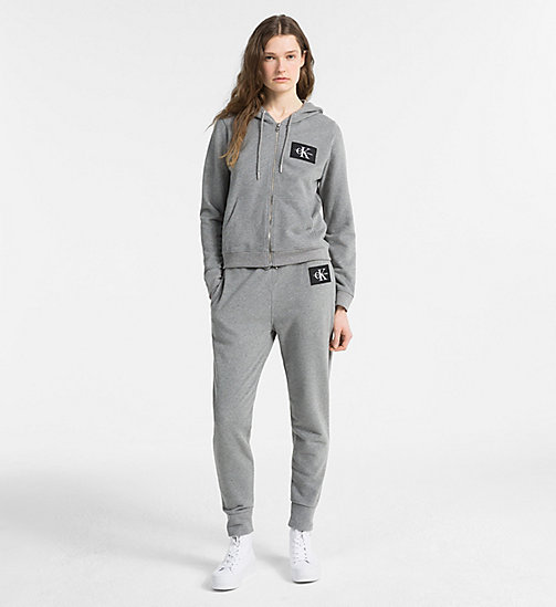 CALVIN KLEIN JEANS Zip-Through Logo Hoodie - LIGHT GREY HEATHER - CALVIN KLEIN JEANS NEW IN - detail image 1