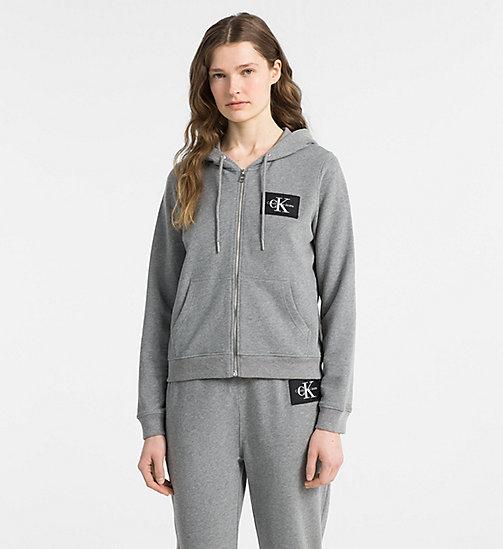 CALVIN KLEIN JEANS Zip-Through Logo Hoodie - LIGHT GREY HEATHER - CALVIN KLEIN JEANS NEW IN - main image