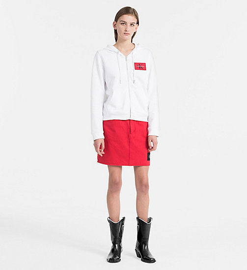CALVIN KLEIN JEANS Zip-Through Logo Hoodie - BRIGHT WHITE - CALVIN KLEIN JEANS LOGO SHOP - detail image 1