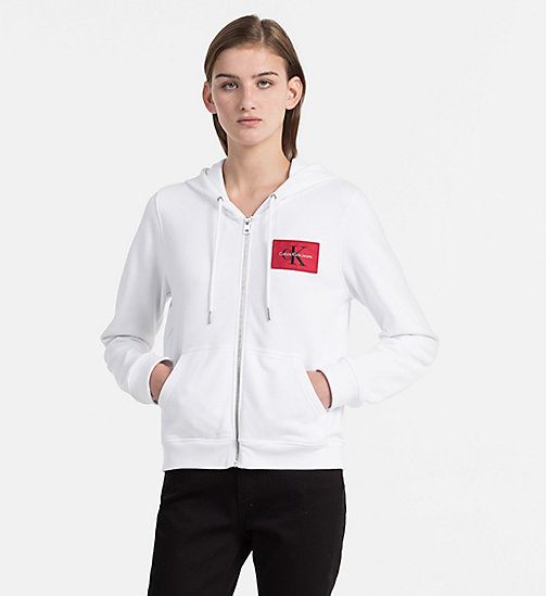 CALVIN KLEIN JEANS Zip-Through Logo Hoodie - BRIGHT WHITE - CALVIN KLEIN JEANS TRUE COLOURS - main image