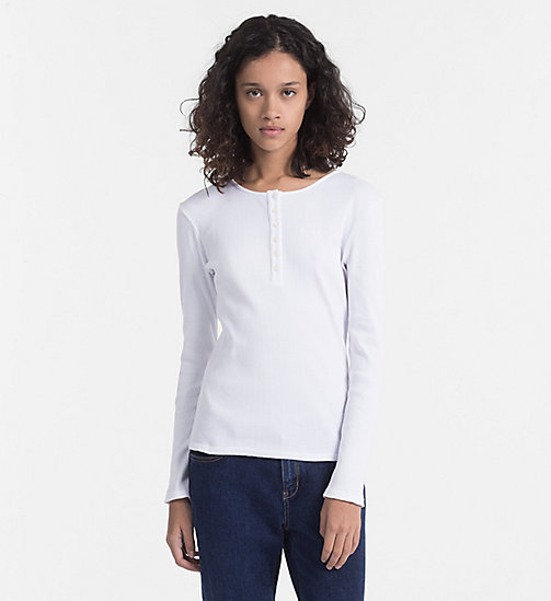 CALVIN KLEIN JEANS Longsleeve Henley T-shirt - BRIGHT WHITE - CALVIN KLEIN JEANS NEW IN - main image