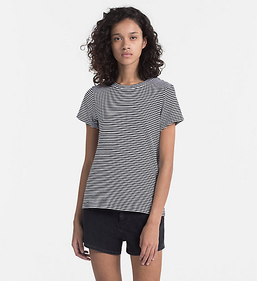 CALVIN KLEIN JEANS Basic Stripe T-shirt - BRIGHT WHITE / CK BLACK - CALVIN KLEIN JEANS NEW IN - main image