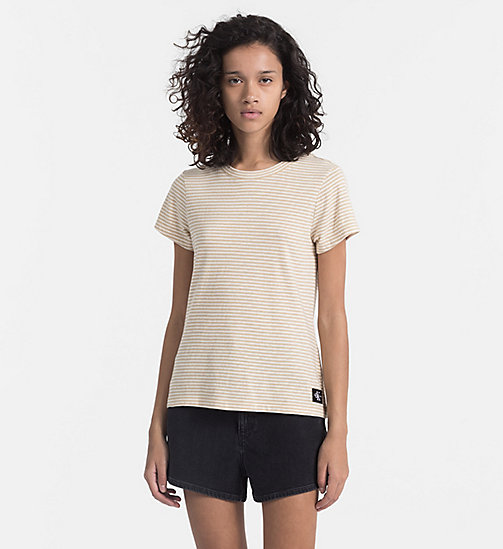 CALVIN KLEIN JEANS Basic Stripe T-shirt - SAFARI / PEARLED IVORY - CALVIN KLEIN JEANS NEW IN - main image
