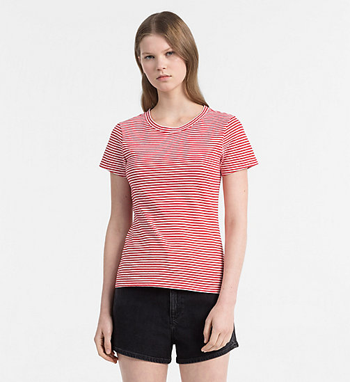 CALVIN KLEIN JEANS Basic Stripe T-shirt - TANGO RED / EGRET - CALVIN KLEIN JEANS NEW IN - main image