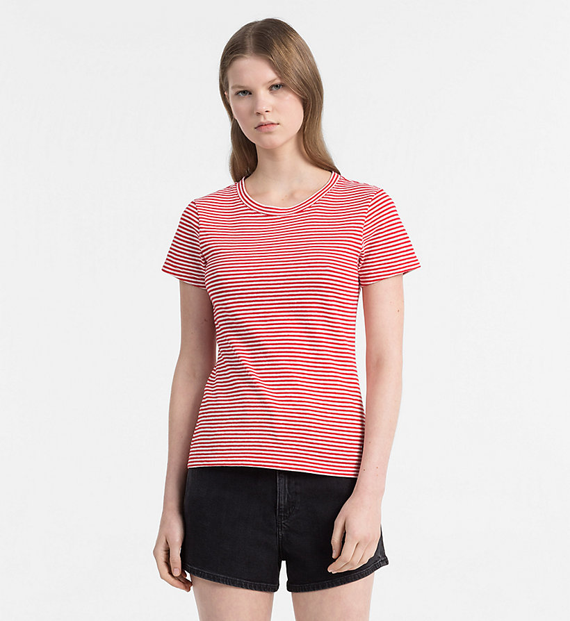 CALVIN KLEIN JEANS Basic Stripe T-shirt - BRIGHT WHITE / CK BLACK - CALVIN KLEIN JEANS WOMEN - main image