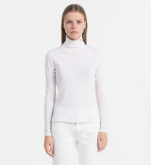 CALVIN KLEIN JEANS Rib-Jersey Roll Neck Top - BRIGHT WHITE - CALVIN KLEIN JEANS TOPS - main image