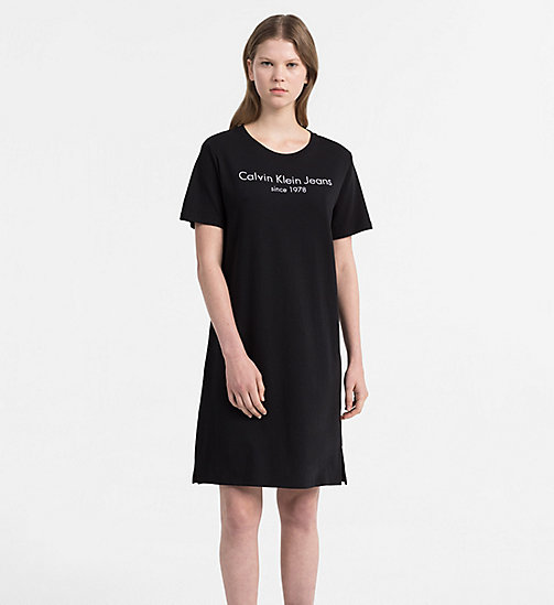 CALVIN KLEIN JEANS Logo T-shirt Dress - CK BLACK - CALVIN KLEIN JEANS DRESSES & SKIRTS - main image