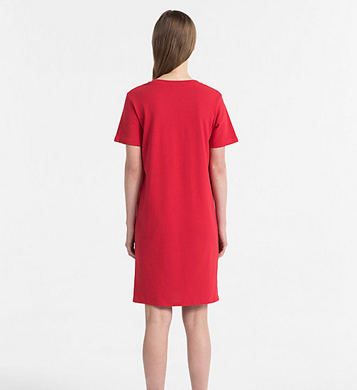 CALVIN KLEIN JEANS Logo T-shirt Dress - TANGO RED - CALVIN KLEIN JEANS DRESSES & SKIRTS - detail image 1