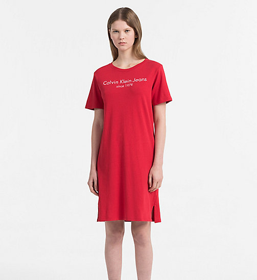 CALVIN KLEIN JEANS Logo-T-Shirt-Kleid - TANGO RED -  NEW IN - main image