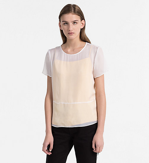 CALVIN KLEIN JEANS Silk Double Layer Top - BRIGHT WHITE / SPECTRA YELLOW - CALVIN KLEIN JEANS TOPS - main image