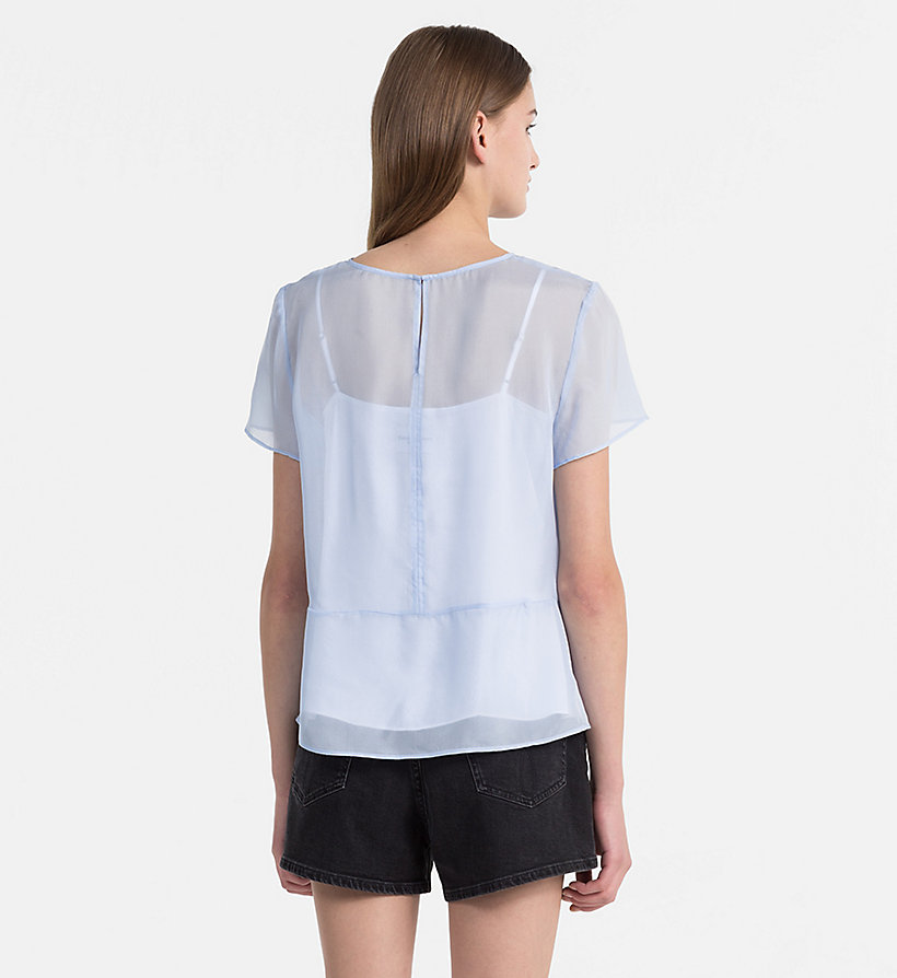 CALVIN KLEIN JEANS Silk Double Layer Top - BRIGHT WHITE / SPECTRA YELLOW - CALVIN KLEIN JEANS WOMEN - detail image 3