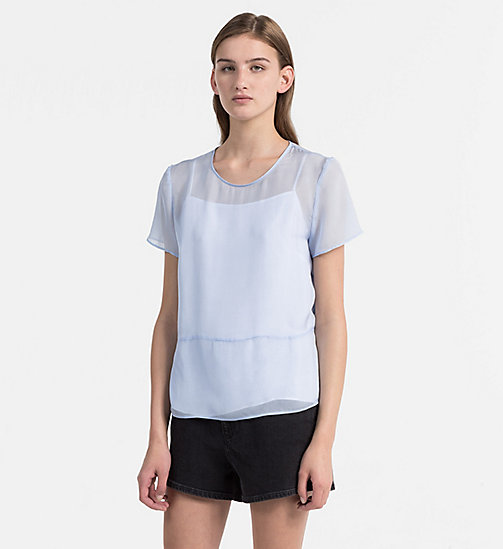 CALVIN KLEIN JEANS Silk Double Layer Top - CHAMBRAY BLUE / BRIGHT WHITE - CALVIN KLEIN JEANS TOPS - main image