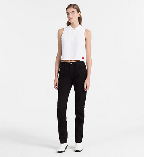 CALVIN KLEIN JEANS Cropped Cotton Piqué Polo - BRIGHT WHITE - CALVIN KLEIN JEANS NEW IN - detail image 1
