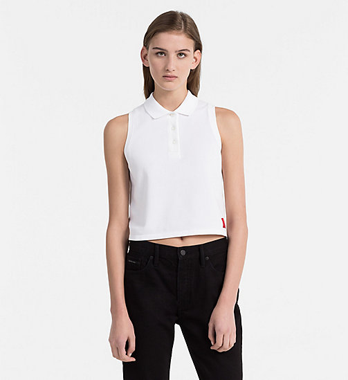 CALVIN KLEIN JEANS Cropped Cotton Piqué Polo - BRIGHT WHITE - CALVIN KLEIN JEANS NEW IN - main image