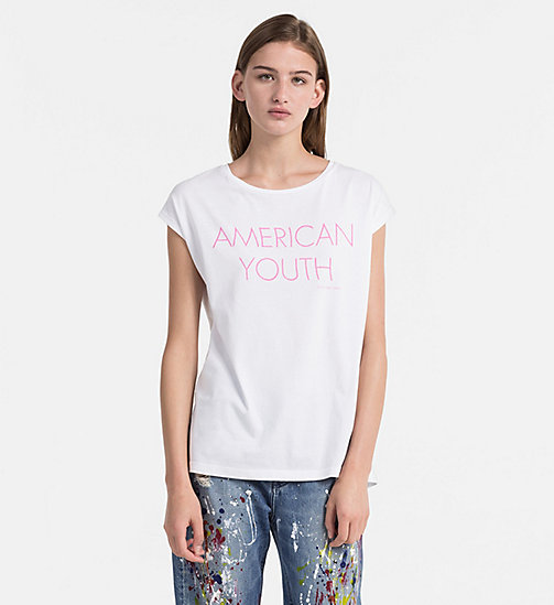 CALVIN KLEIN JEANS Cap-Sleeve Printed T-shirt - BRIGHT WHITE - CALVIN KLEIN JEANS HEAT WAVE - main image