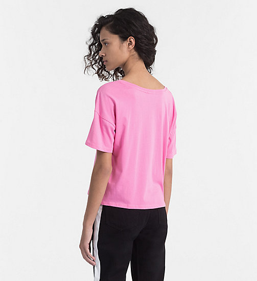 CALVIN KLEIN JEANS Embroidered Logo T-shirt - WILD ORCHID - CALVIN KLEIN JEANS HEAT WAVE - detail image 1