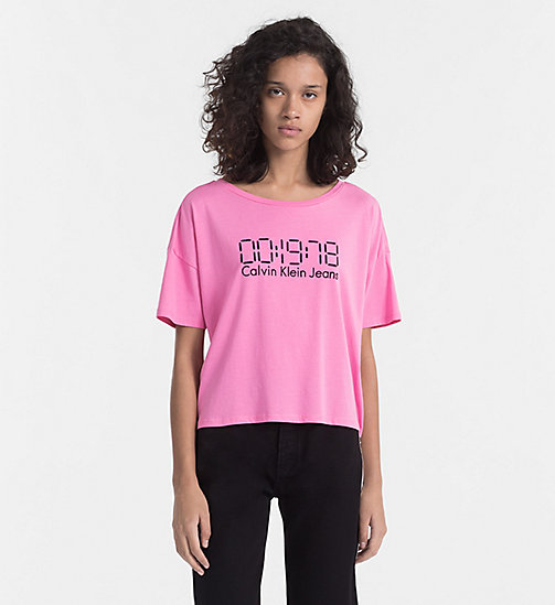 CALVIN KLEIN JEANS Embroidered Logo T-shirt - WILD ORCHID - CALVIN KLEIN JEANS HEAT WAVE - main image