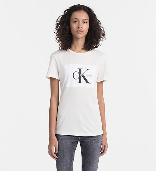CALVIN KLEIN JEANS Logo-T-Shirt - PEARLED IVORY / BRIGHT WHITE -  NEW IN - main image