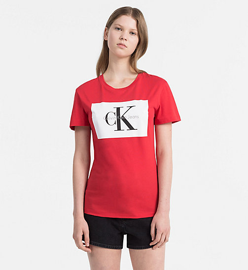 CALVIN KLEIN JEANS Logo T-shirt - TANGO RED / BRIGHT WHITE - CALVIN KLEIN JEANS TRUE COLOURS - main image