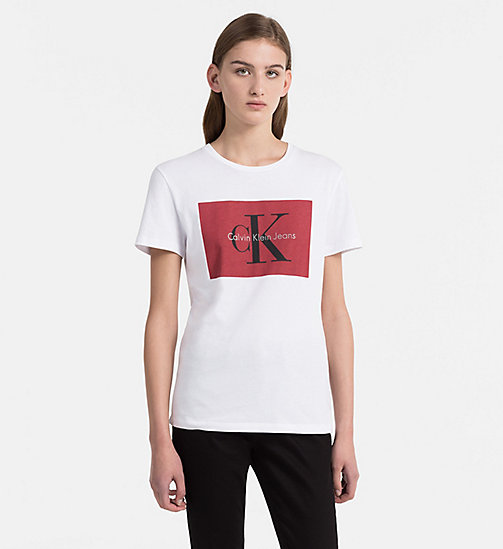 CALVIN KLEIN JEANS Logo T-shirt - BRIGHT WHITE / TANGO RED - CALVIN KLEIN JEANS TRUE COLOURS - main image