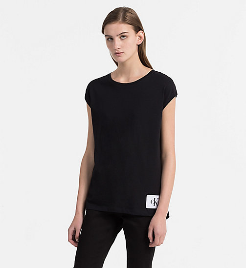 CALVIN KLEIN JEANS Cap-Sleeve T-shirt - CK BLACK / BRIGHT WHITE - CALVIN KLEIN JEANS NEW IN - main image