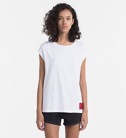 CALVIN KLEIN JEANS Cap-Sleeve T-shirt - BRIGHT WHITE / TANGO RED - CALVIN KLEIN JEANS NEW IN - main image