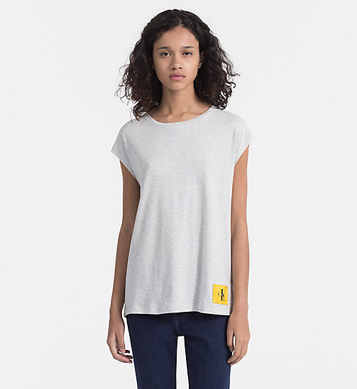CALVIN KLEIN JEANS Cap-Sleeve T-shirt - WHITE HEATHER / SPECTRA YELLOW - CALVIN KLEIN JEANS T-SHIRTS - main image