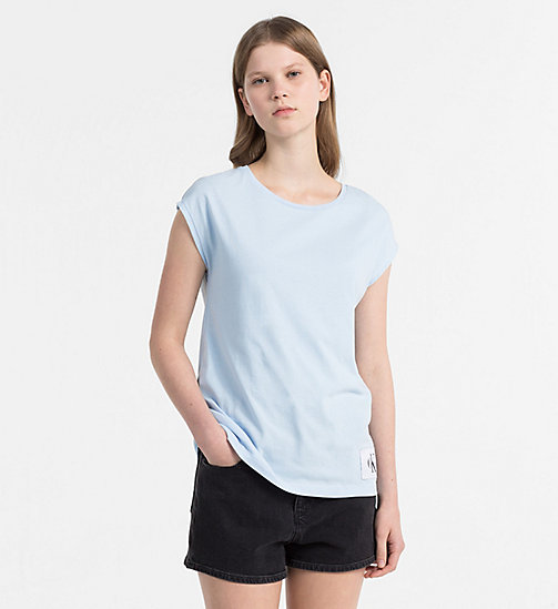 CALVIN KLEIN JEANS Cap-Sleeve T-shirt - CHAMBRAY BLUE / BRIGHT WHITE - CALVIN KLEIN JEANS NEW IN - main image